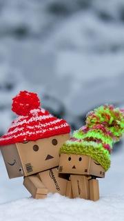 amazonダンボー ニット帽子 雪 冬 スマホiPhoneかわいい高画質待ち受け画像2