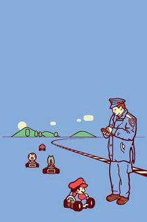 マリオカート警察取り締まり!スマホ用おもしろ壁紙待受け画像